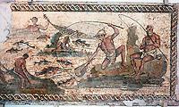 Libyan Arab Jamahiriya   .Tripoli       June 2002. .Tripoli's National Museum..Roman mosaic dating from the 2nd century AD.Libia Tripoli  Giugno 2002..Museo Nazionale..Mosaico romano  che rappresenta una scena di pesca.