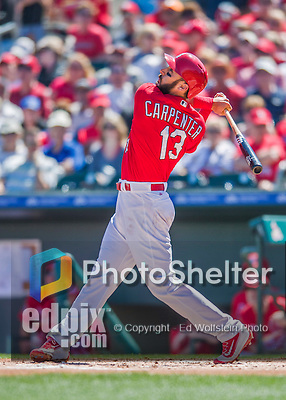 6 March 2016: St. Louis Cardinals infielder Matt Carpenter in action during a Spring Training pre-season game against the Washington Nationals at Roger Dean Stadium in Jupiter, Florida. The Nationals defeated the Cardinals 5-2 in Grapefruit League play. Mandatory Credit: Ed Wolfstein Photo *** RAW (NEF) Image File Available ***