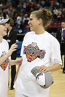 SACRAMENTO, CA - MARCH 29: Jeanette Pohlen with Lindy La Rocque after Stanford's 55-53 win over Xavier in the NCAA Women's Basketball Championship Elite Eight on March 29, 2010 at Arco Arena in Sacramento, California.