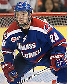 Jake Suter (UML - 28) - The visiting University of Massachusetts Lowell River Hawks defeated the Boston University Terriers 3-0 on Friday, February 22, 2013, at Agganis Arena in Boston, Massachusetts.
