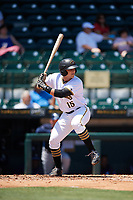 Bradenton Marauders catcher John Bormann (15) at bat during a game against the Charlotte Stone Crabs on April 9, 2017 at LECOM Park in Bradenton, Florida.  Bradenton defeated Charlotte 5-0.  (Mike Janes/Four Seam Images)