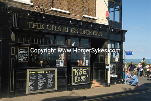 Broadstairs Kent Uk. The Charles Dickens pub overlooking Viking bay.