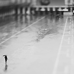 a lone person holding umbrella walking across a flooded st marks square, venice, italy