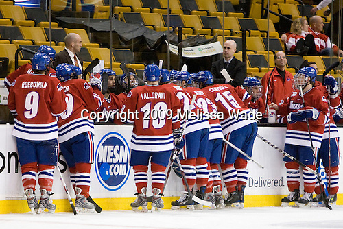 - The University of Massachusetts-Lowell River Hawks defeated the Northeastern University Huskies 3-2 (OT) in their Hockey East Semi-Final match on Friday, March 20, 2009, at the TD BankNorth Garden in Boston, Massachusetts.