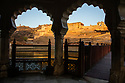 India, Jaipur, Historical City, Jaipur Fort photographed through arch