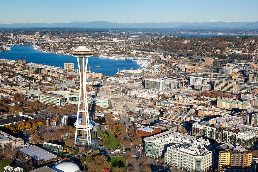 Aerial photo of Seattle's Space Needle, South Lake Union neighborhood, and Lake Union