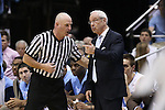 18 January 2014: UNC head coach Roy Williams (right) and referee Tim Comer (left). The University of North Carolina Tar Heels played the Boston College Eagles in an NCAA Division I Men's basketball game at the Dean E. Smith Center in Chapel Hill, North Carolina. UNC won the game 82-71.