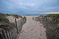Beach entrance between snow fences, Sagg Main Beach, Sagaponack, Town of Southampton, New York, Long Island