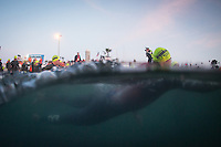 Andy Potts and the pro men's field enter the water in the Accenture Ironman California 70.3 in Oceanside, CA on March 29, 2014.