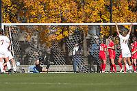 Boston College midfielder Kristen Mewis (19) scoring on direct kick. Boston College defeated Marist College, 6-1, in NCAA tournament play at Newton Campus Field, November 13, 2011.
