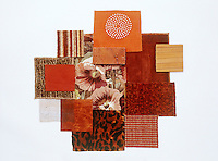 A collection of fabric swatches illustrating the colour range from ginger to cinnamon