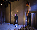 London, UK. 28.04.2014. DEBRIS, by Dennis Kelly, directed by Abigail Graham, opens at Southwark Playhouse. Lighting design by Jack Knowles and set and costume design by Signe Beckmann. Leila Mimmack plays Michelle and Harry McEntire plays Michael in this two-hander. Photograph © Jane Hobson.