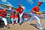 12 March 2012: The Washington Nationals take to the field to start a Spring Training game against the St. Louis Cardinals at Space Coast Stadium in Viera, Florida. The Nationals defeated the Cardinals 8-4 in Grapefruit League play. Mandatory Credit: Ed Wolfstein Photo