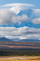 Denali's summit surrounded by clouds, Denali National Park, Alaska.