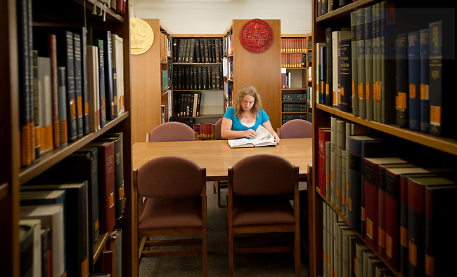 Aug. 9, 2011; Maria Martellaro '12 in the Medieval Institute. Martellaro is working on an undergraduate research project on labyrinths...Photo by Matt Cashore/University of Notre Dame
