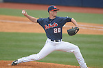 Ole Miss' Mike Mayers (28) pitches vs. Lipscomb at Oxford-University Stadium in Oxford, Miss. on Saturday, March 9, 2013. Ole Miss won 8-5. The win was the 486th for Mike Bianco as the Rebel head coach, making him the university's all time winningest baseball coach.