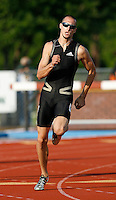 Jeremy  Wariner of Adidas won the 200m with a time os 20.81secs., he also won the 400m with a time of 44.66secs.@ the Michael Johnson Classic held @ Baylor Univ., Waco,Texas on Saturday, April 21, 2007. Photo by Errol Anderson,The Sporting Image.