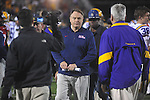 Ole Miss head coach Houston Nutt walks off the field aginst LSU at Vaught-Hemingway Stadium in Oxford, Miss. on Saturday, November 19, 2011. LSU won 52-3.