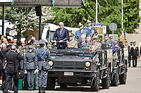 L'AQUILA (AQ) 21/06/2012 - 238° ANNIVERSARIO DELLA SCUOLA GUARDIA DI FINAZA A L'AQUILA, PRESENTI ALLA FESTA IL PRESIDENTE DELLO STATO GIORGIO NAPOLITANO E IL PREMIER MARIO MONTI. NELLA FOTO L'ARRIVO DEI PRESIDENTI GIORGIO NAPOLITANO E MARIO MONTI ALL'ANNIVERSARIO. FOTO DI LORETO ADAMO