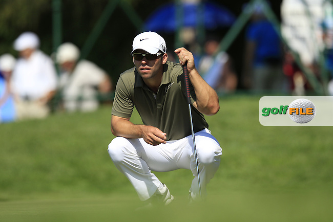 Paul Casey (ENG) lines up his putt on the 16th green during Thursday's Round 1 of the 2013 BMW International Open held on the Eichenried Golf Club, Munich, Germany. 20th June 2013<br /> (Picture: Eoin Clarke www.golffile.ie)