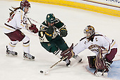 Meagan Mangene (BC - 24), Dayna Colang (UVM - 6), Corinne Boyles (BC - 29) - The Boston College Eagles defeated the visiting University of Vermont Catamounts 2-0 on Saturday, January 18, 2014, at Kelley Rink in Conte Forum in Chestnut Hill, Massachusetts.