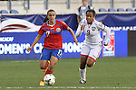 24 October 2014: Melissa Herrera (CRC) (17) and Maylee Attin (TRI) (9). The Costa Rica Women's National Team played the Trinidad & Tobago Women's National Team at PPL Park in Chester, Pennsylvania in a 2014 CONCACAF Women's Championship semifinal game, which serves as a qualifying tournament for the 2015 FIFA Women's World Cup in Canada. Costa Rica advanced to the championship game, and qualified for next year's Women's World Cup, by winning the penalty shootout 3-0 after the game ended in a 1-1 tie after double overtime.