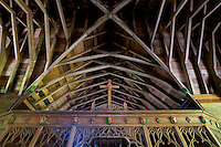 Detail of a Catholic Church - a fine wood roof with rafters.