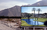Billboard for golf course in desert near Palm Springs, CA circ 1979