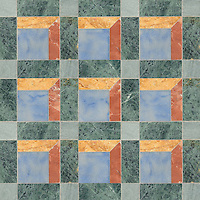 Paseo, a handmade mosaic shown in honed Spring Green, Kay's Green, Blue Macauba, Giallo Reale, and Rojo Alicante, is part of the Illusions™ Collection by Sara Baldwin Designs and Paul Schatz for New Ravenna.