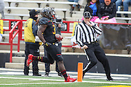 College Park, MD - November 26, 2016: Maryland Terrapins running back Kenneth Goins Jr. (30) scores a touchdown during game between Rutgers and Maryland at  Capital One Field at Maryland Stadium in College Park, MD.  (Photo by Elliott Brown/Media Images International)