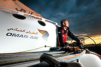 2nd August 2010 . Cowes. Isle of Wight..Pictures of Oman Air 'Majan' Skipper Sidney Gavignet onboard the Oman Air 'Majan' Trimaran..Mandatory credit: Lloyd Images