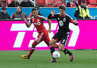 06 October 2012: Toronto FC forward Quincy Amarikwa #18 and D.C. United defender Dejan Jakovic #5 in action during an MLS game between D.C. United and Toronto FC at BMO Field in Toronto, Ontario..D.C. United won 1-0..