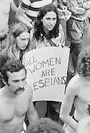 Manhattan, New York City, NY New York, NY - June 27, 1971<br /> Demonstrators carry signs during the second Gay Pride Parade in New York City, calling for urgent attention to equal rights.