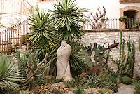 Cactus garden in the Posada de las Minas, a luxury boutique hotel in Mineral de Pozos, Guanajuato, Mexico