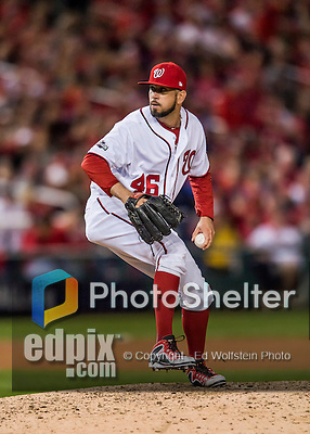 13 October 2016: Washington Nationals pitcher Oliver Perez on the mound during Game 5 of the NLDS against the Los Angeles Dodgers at Nationals Park in Washington, DC. The Dodgers edged out the Nationals 4-3, to take Game 5 of the Series, 3 games to 2, and move on to the National League Championship Series against the Chicago Cubs. Mandatory Credit: Ed Wolfstein Photo *** RAW (NEF) Image File Available ***
