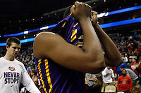 PITTSBURGH, PA - MARCH 19:  Jordan Mickey #25 of the LSU Tigers reacts after being defeated by the North Carolina State Wolfpack 66 to 65 during the second round of the 2015 NCAA Men's Basketball Tournament at Consol Energy Center on March 19, 2015 in Pittsburgh, Pennsylvania.  (Photo by Jared Wickerham/Getty Images)