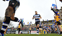Horacio Agulla and the rest of the Bath Rugby team run out onto the field. Aviva Premiership match, between Bath Rugby and Wasps on February 20, 2016 at the Recreation Ground in Bath, England. Photo by: Patrick Khachfe / Onside Images