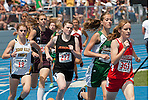 The 800 meter pack (L to R:  Rebecca Lassere, Kayla Green, Kendra Brown, McKenzie Karl) at the start of the second lap during the 4A Idaho Track and Field Championships on May 19, 2012 at Middleton High School, Middleton, Idaho. Karl finished fifth, Brown sixth (2:22.21), Lassere seventh (2:22.82) and Green eleventh (2:28.85).