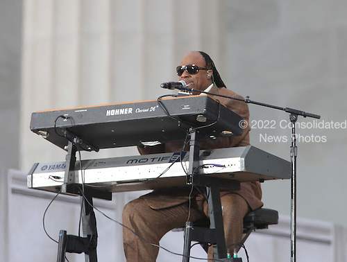 Washington, DC - January 18, 2009 -- Stevie Wonder performs at the &quot;We Are One&quot; , the Obama Inaugural Celebration at the Lincoln Memorial on Sunday, January 18, 2009..Credit: Dennis Brack - Pool via CNP