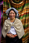 Woman in Otavalo marketplace in Ecuador