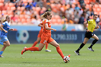 Houston, TX - Saturday April 15, 2017: Cami Privett brings the ball up the field during a regular season National Women's Soccer League (NWSL) match between the Houston Dash and the Chicago Red Stars at BBVA Compass Stadium.