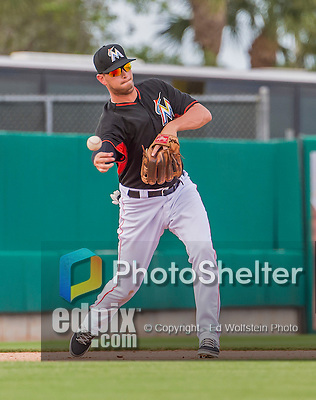 10 March 2015: Miami Marlins infielder Reid Brignac in Spring Training action against the Washington Nationals at Roger Dean Stadium in Jupiter, Florida. The Marlins edged out the Nationals 2-1 in Grapefruit League play. Mandatory Credit: Ed Wolfstein Photo *** RAW (NEF) Image File Available ***