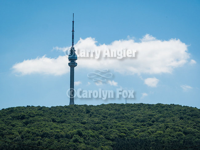 Avala TV broadcasting antenna tower and clouds, Belgrade, Serbia