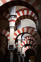 Prayer Hall (Detail), Great Mosque at Córdoba; 784 - 793 AD; Córdoba, Andalusia, Spain; The twin colours, based upon the combination of brick and stone voussoirs, alternating red and white, creates an illusion of space with no defined axis, static whilst at the same time dynamic, opening in all directions at once. Only 856 of the original 1'013 columns remain, the others having been demolished during Christian reforms. Picture by Manuel Cohen