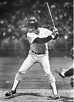 Boston Red Sox slugger Carl Yastrzemski batting against the Oakland A's (photo 1983 Ron Riesterer)