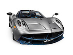 2016 Silver Pagani Huayra exotic Italian sports car supercar isolated on white background with clipping path