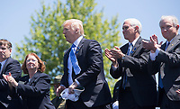 United States President Donald J. Trump makes remarks at the 36th Annual National Peace Officers Memorial Service at the US Capitol in Washington, DC, May 15, 2017.  US Vice President Mike Pence and US Attorney General Jeff Sessions are also in attendance.<br /> Credit: Chris Kleponis / Pool via CNP /MediaPunch