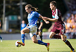 St Johnstone v Hearts...04.08.13 SPFL<br /> Stevie May gets away from Brad McKay<br /> Picture by Graeme Hart.<br /> Copyright Perthshire Picture Agency<br /> Tel: 01738 623350  Mobile: 07990 594431