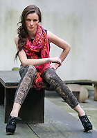***NO REPRODUCTION FEE PICTURE***.01/02/12 Karen Fitzpatrick wears a Black Embroidered Vest at EUR25, Tropical Scarf at EUR15, Snakeskin Denims at EUR38 and Metallic Belt at EUR12 pictured at the Morrison Hotel, Dublin this morning at the launch of the A Wear Spring Collection 2012...Picture Colin Keegan, Collins, Dublin. .***NO REPRODUCTION FEE PICTURE***