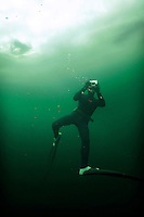 Terje Brandshaug freediving under the ice while taking pictures with a digital camera. Lutvann lake,outside Oslo, Norway. Photo: Fredrik Naumann/Felix Features